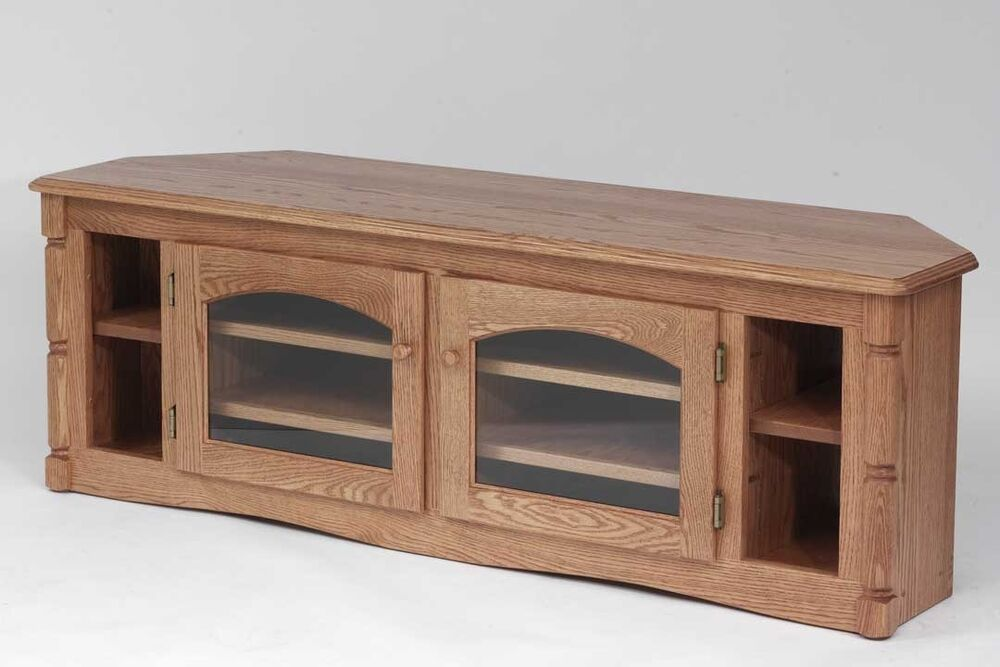 879 Solid Wood Oak Country Corner Tv Stand Ebay
