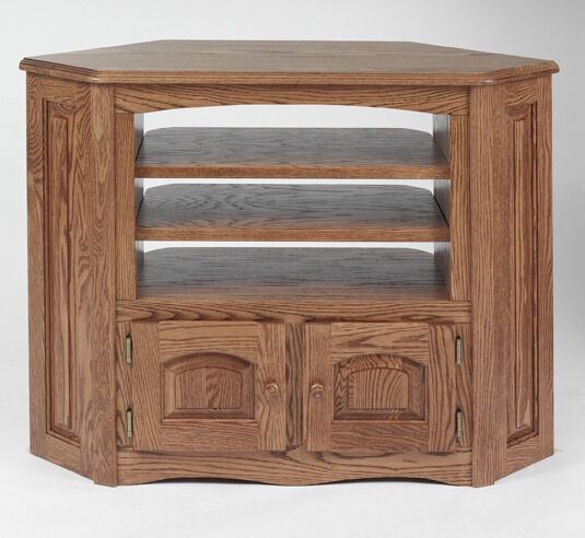 893 Solid Wood Oak Country Corner Tv Stand Ebay