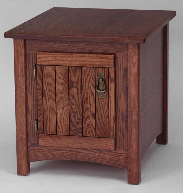 931 Solid Oak Storage Mission End Table Ebay