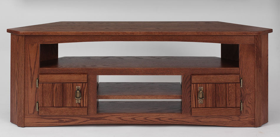 #999 Solid Wood Oak Mission Corner TV Stand