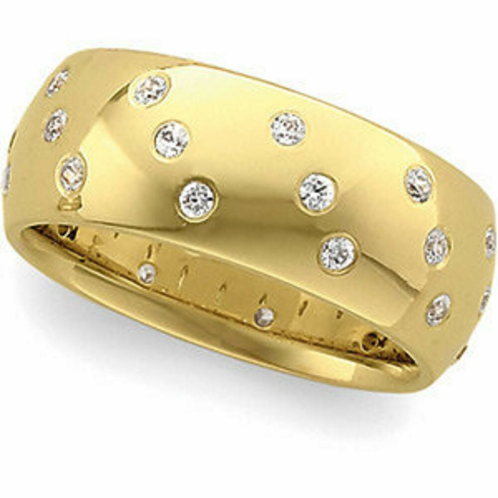 14 kt yellow gold set white thick wide