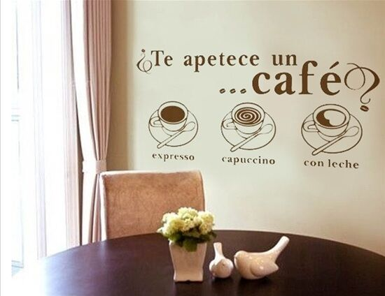 stickers effetto lavagna : ... Expresso Cappuccino Wall Decal Stickers Vinyl Room Art Decor eBay