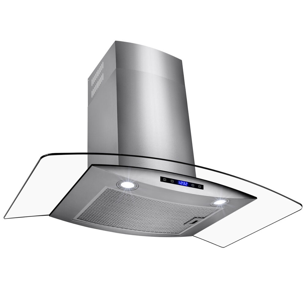 Ventless Range Hoods ~ Quot kitchen led touch wall mount stainless steel glass
