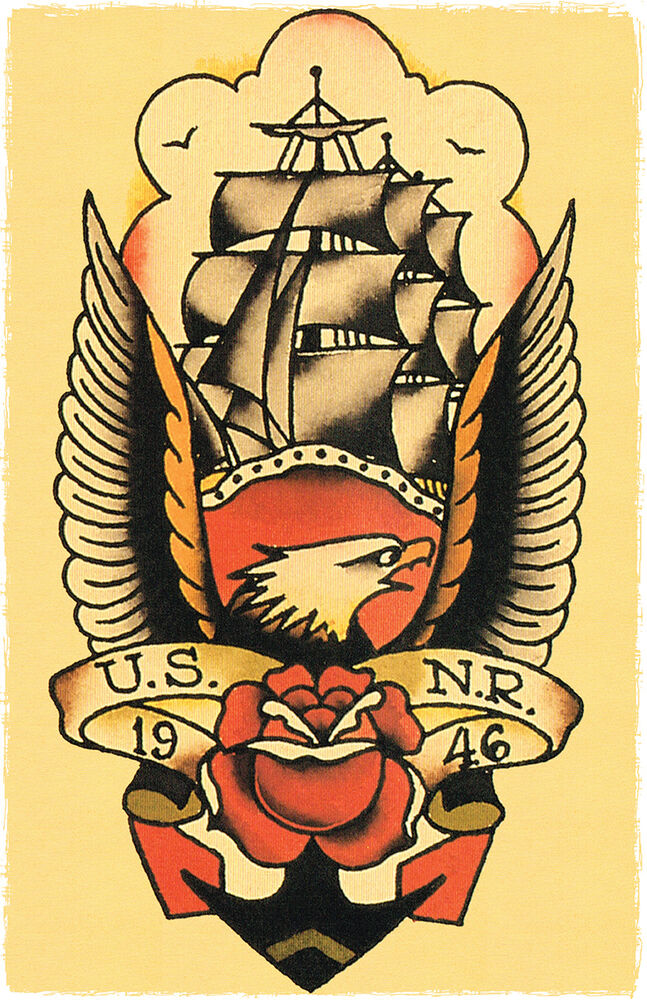 108 US NR NAVY 1946 Mast Ship Sailor Jerry Traditional ...