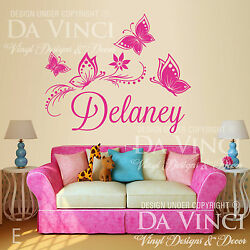 Personalized Custom Butterflies Flower Name Vinyl Decal Sticker Wall Deco Room