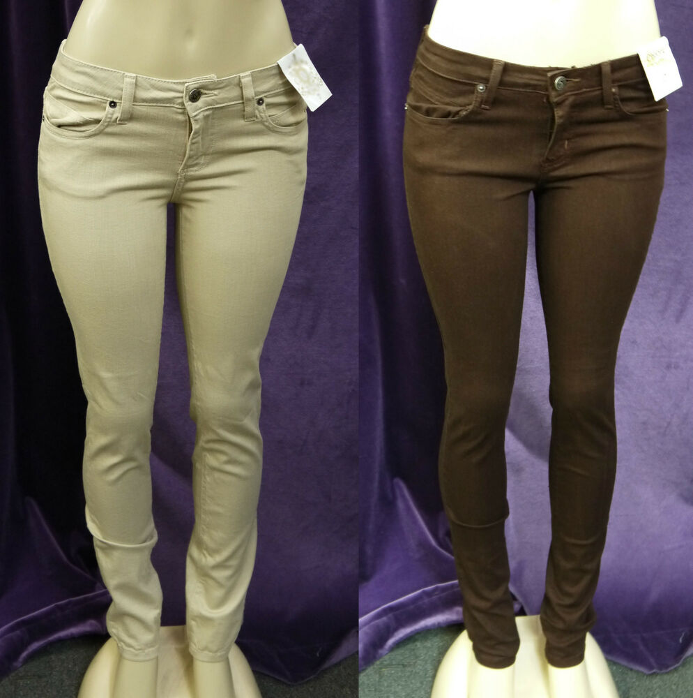 NEW WOMEN ENCORE COLOR SKINNY JEANS KHAKI u0026 DARK BROWN | eBay