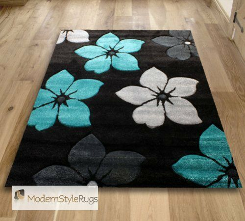 Black Teal Blue And Grey Flowers Pattern Rug