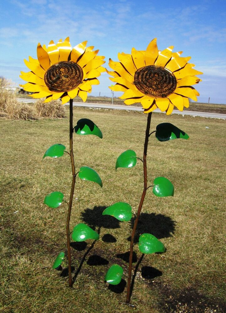 67 recycled metal sunflower garden stake yard decor lawn for Garden ornaments and accessories