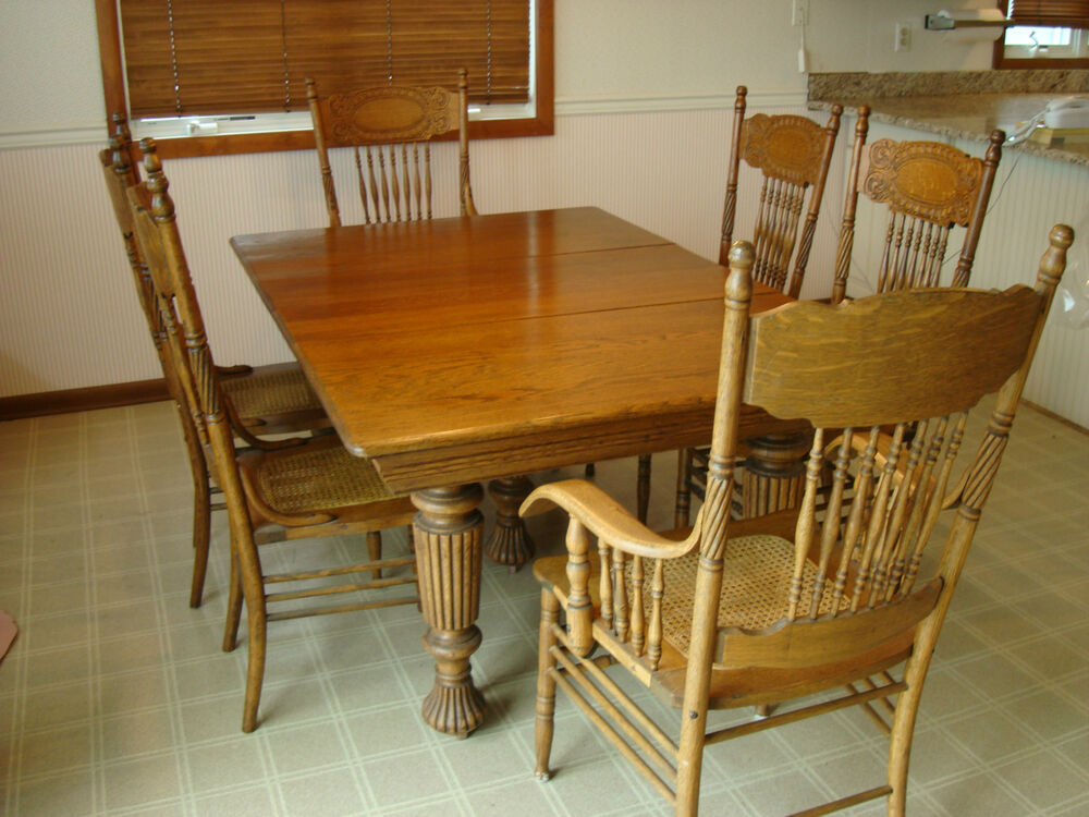 Vintage oak dining room set eight chairs ebay for Wooden dining room furniture