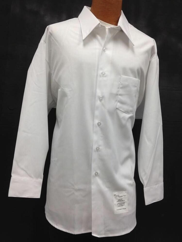 Shirt mens long sleeve dress casual white collared formal for Stafford white short sleeve dress shirts