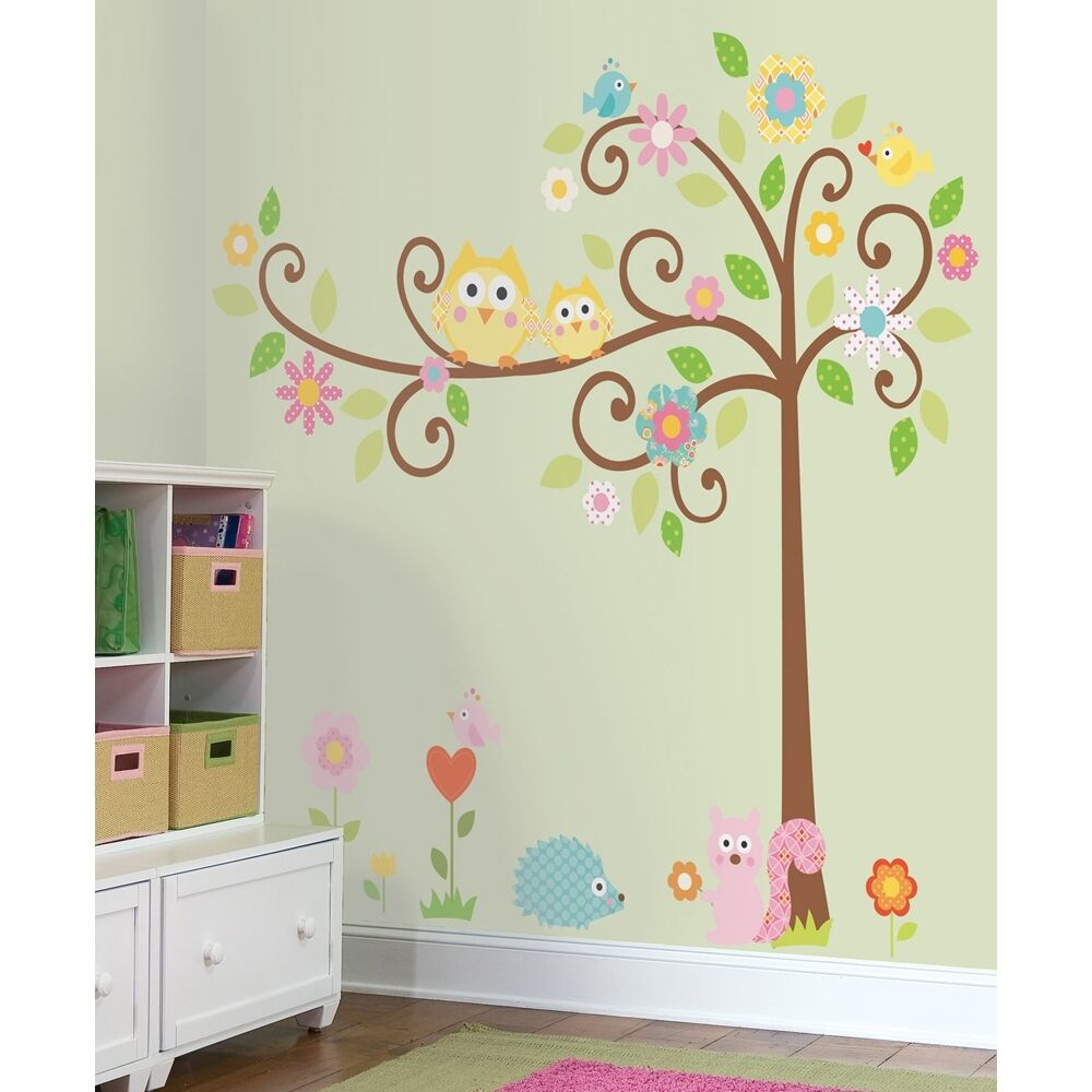 New giant scroll tree wall decals baby nursery stickers for Baby owl decoration