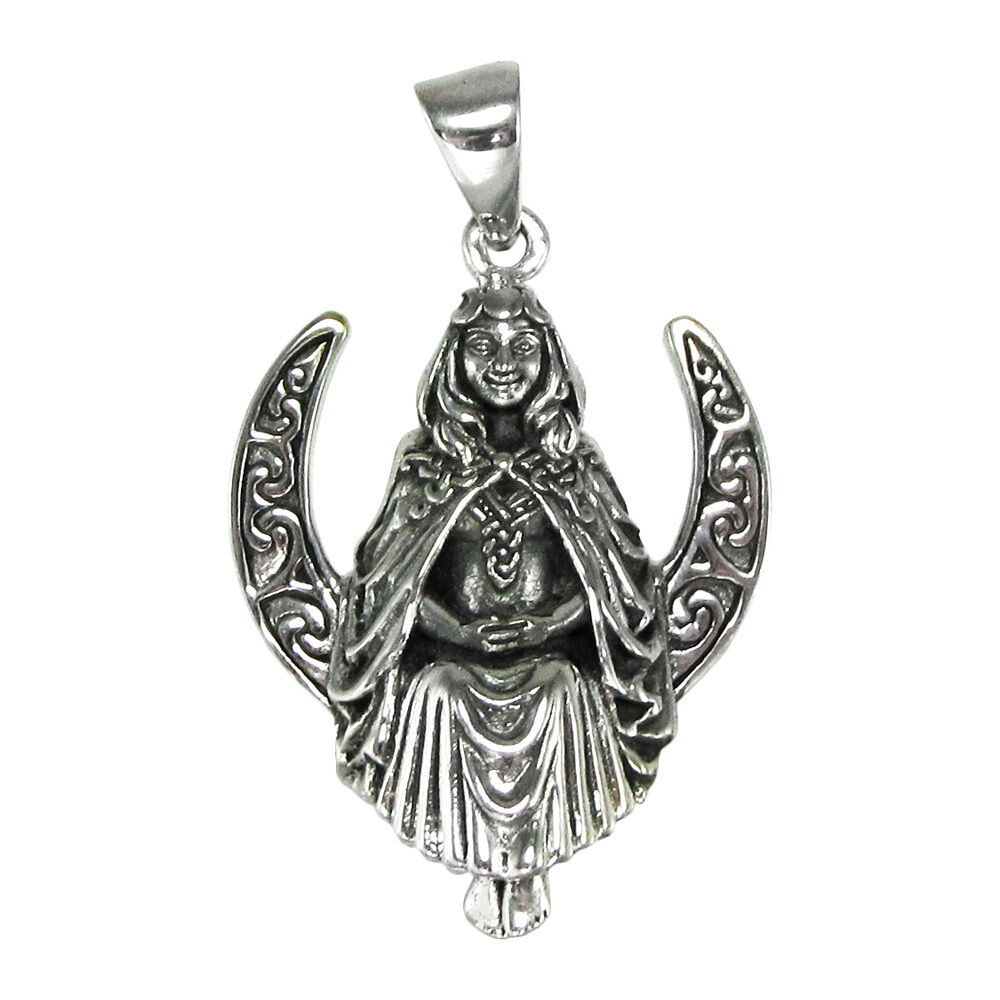 sterling silver seated moon goddess pendant dryad design