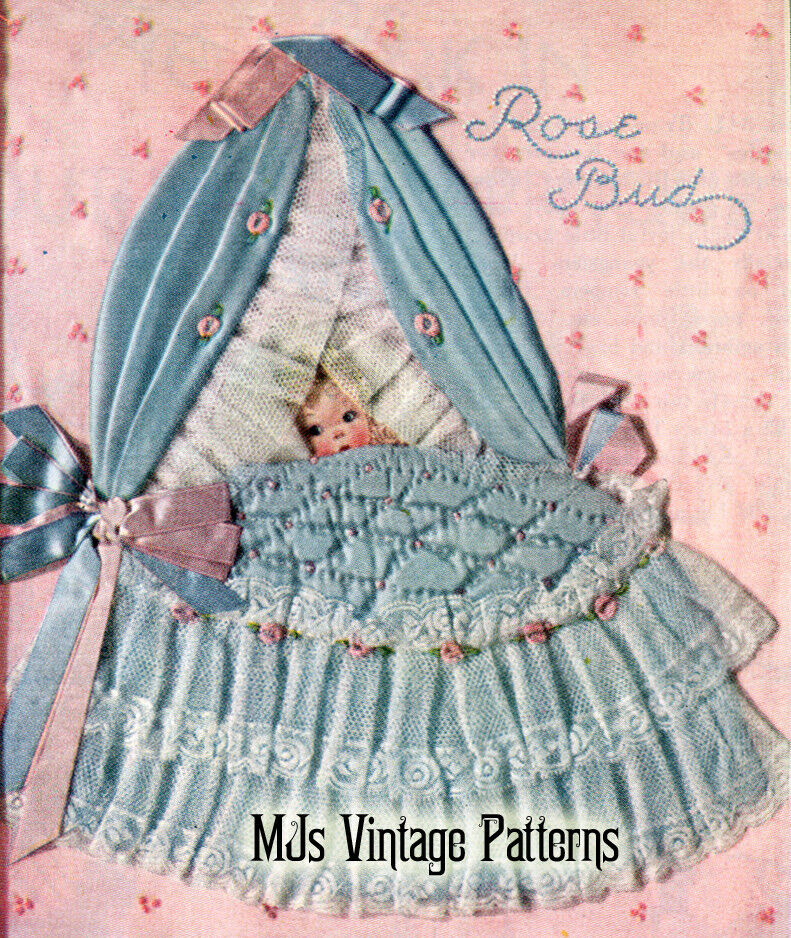 Vintage Baby In Crib Picture Pattern Nursery Decor