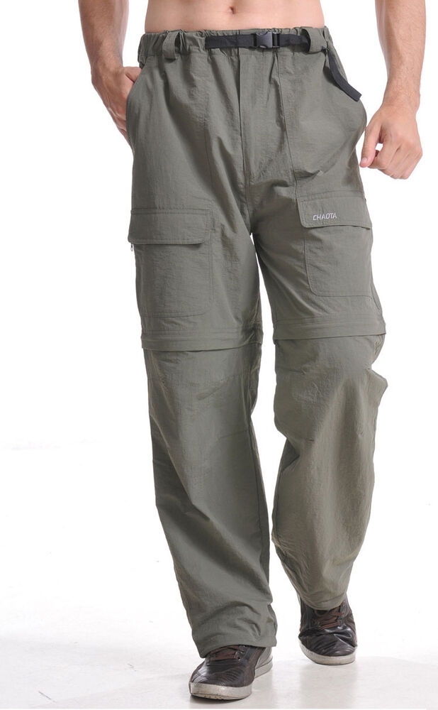 mens quick dry outdoor fishing pants zip off leg trousers