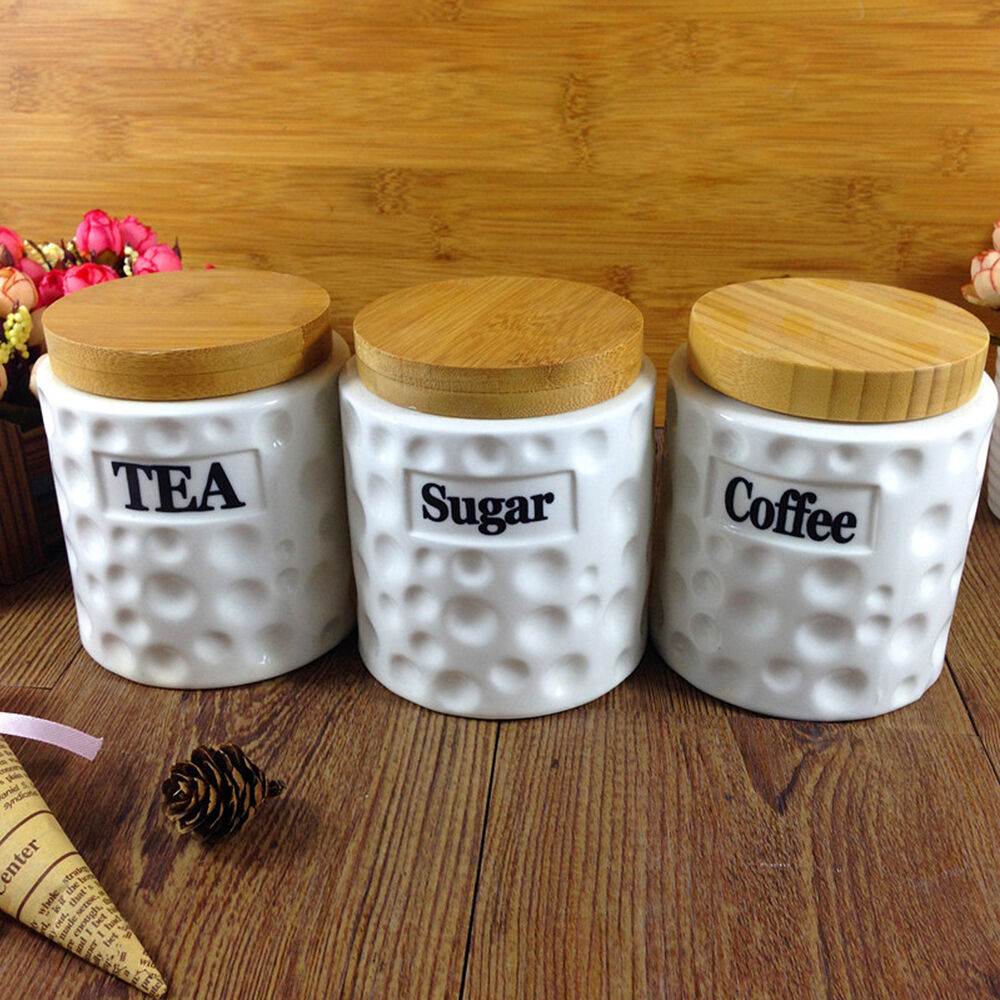 ceramic storage jars for kitchen tea coffee sugar set ceramic jars bamboo lids kitchen 8096