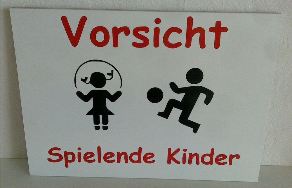 schild achtung spielende kinder warnschild langsam kind ebay. Black Bedroom Furniture Sets. Home Design Ideas