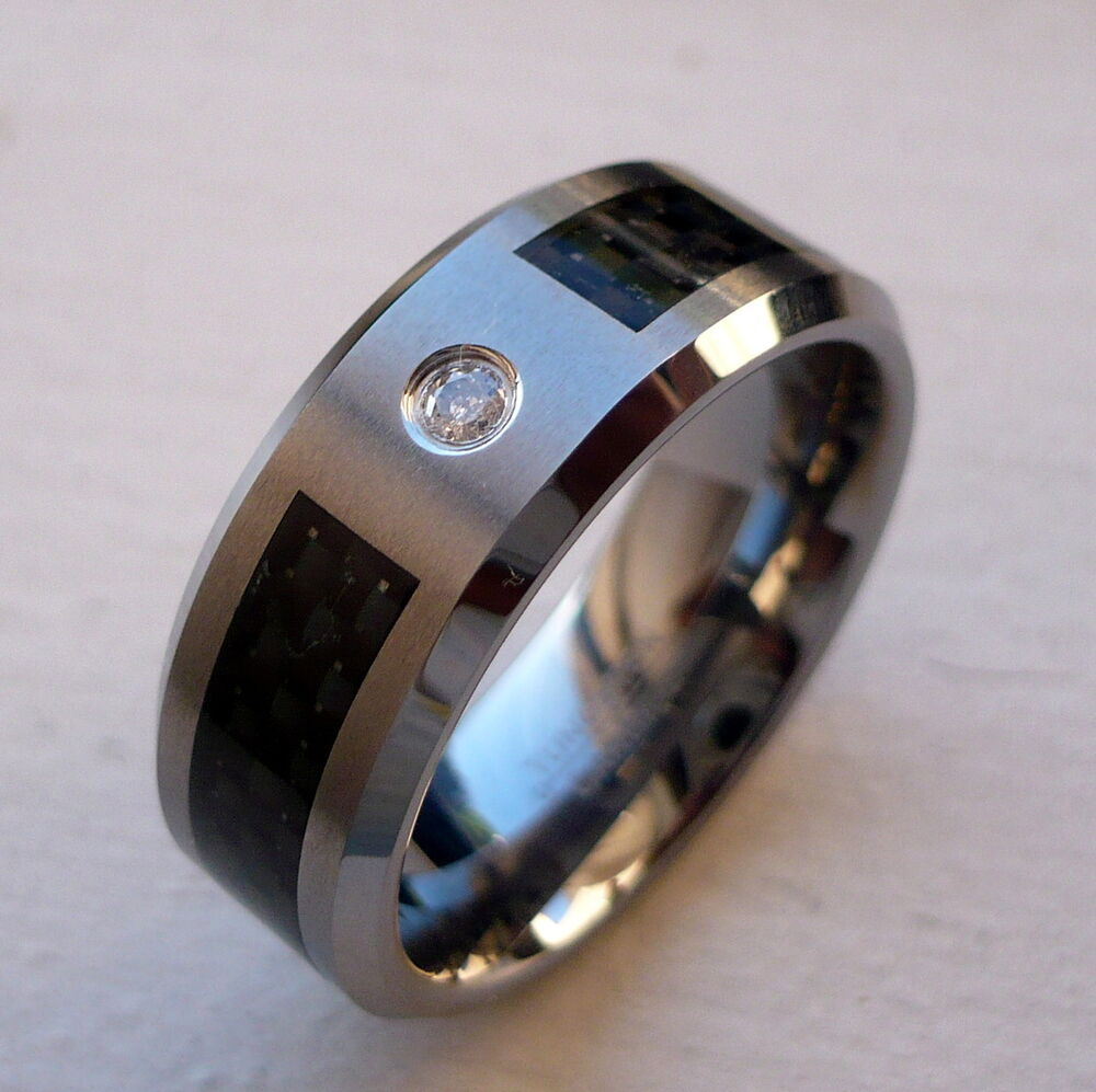 8mm tungsten carbide black carbon fiber diamond men39s for Carbon fibre wedding ring