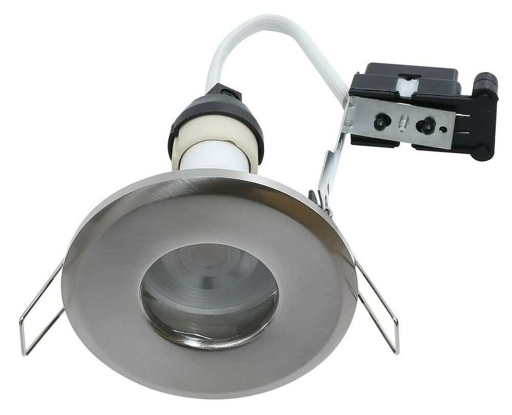 6x bathroom shower downlights ip65 mains 240v gu10 zone for Zone 0 bathroom lights