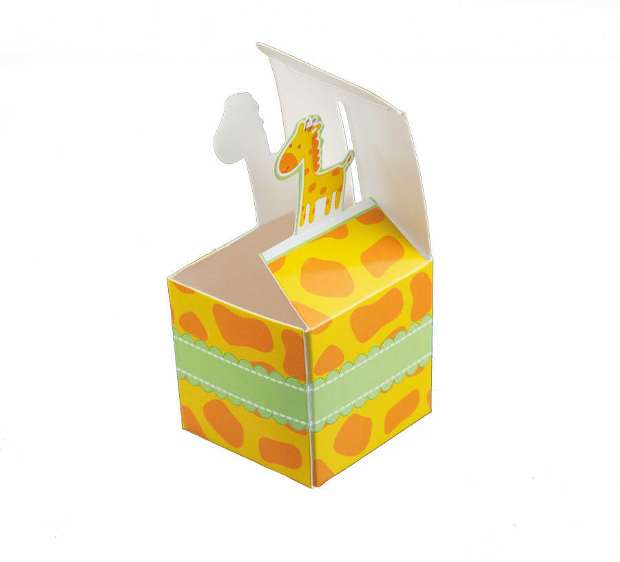 Jungle baby shower favor boxes : Giraffe born to be wild jungle baby shower favor boxes