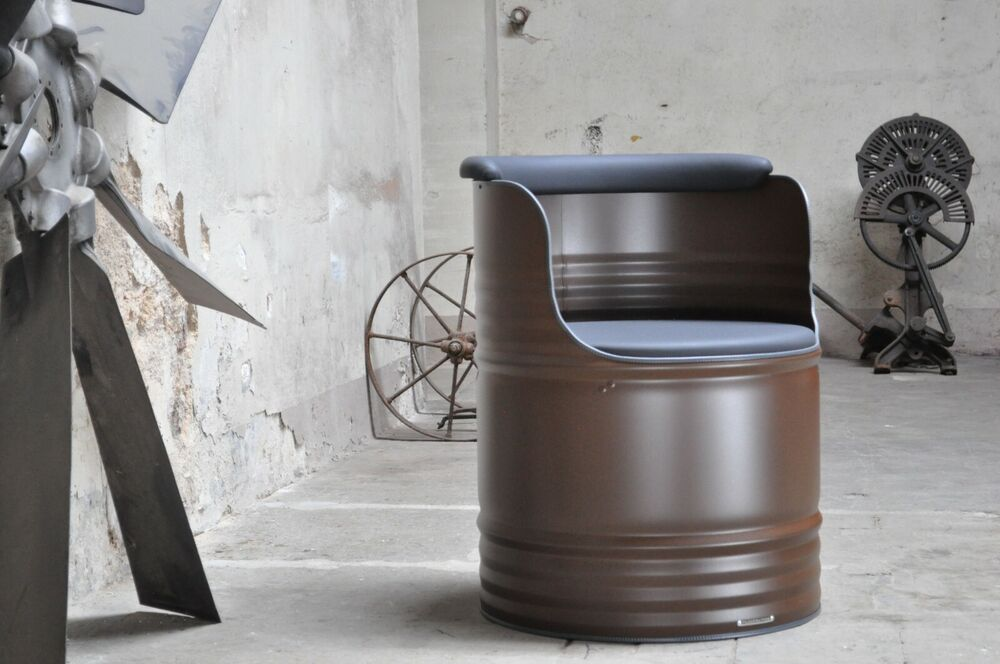 fass sessel barrel 200l fass lfass f sser fasssessel pulverbeschichtet ebay. Black Bedroom Furniture Sets. Home Design Ideas
