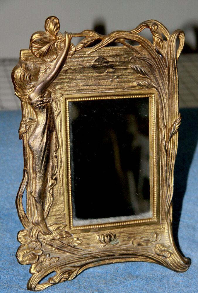 Antique Vanity Standing Brass Mirror Ebay