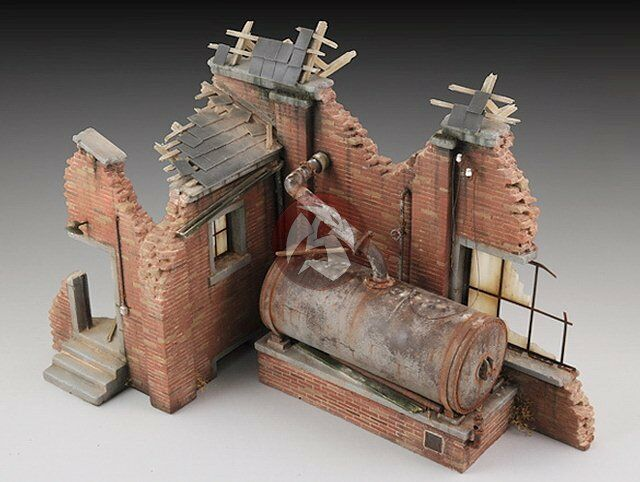 royal model 1 35 factory ruin with steam boiler plaster