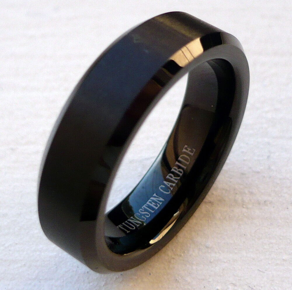 6MM TUNGSTEN CARBIDE MEN 39 S COMFORT FIT BLACK WEDDING BAND RING SIZE 5 15