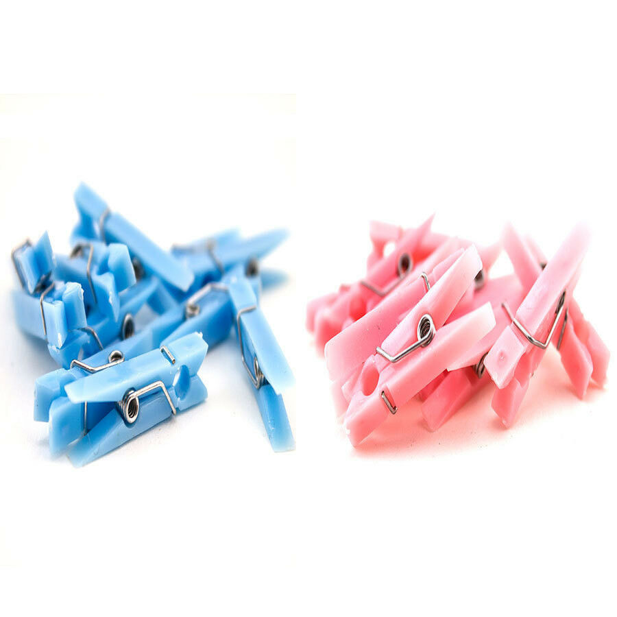 48 Pc Baby Shower Mini Clothespin Blue Pink Boy Girl Decor