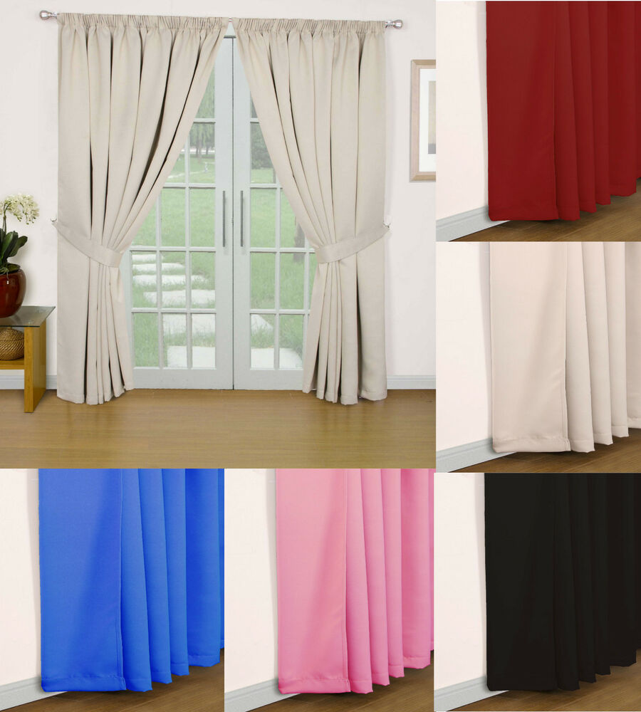 Eclipse Pair Of Ready Made Semi Blackout Thermal Curtains Lining Ebay