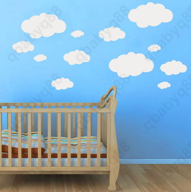 20pcs clouds wall decals removable stickers home vinyl for Clouds wall mural