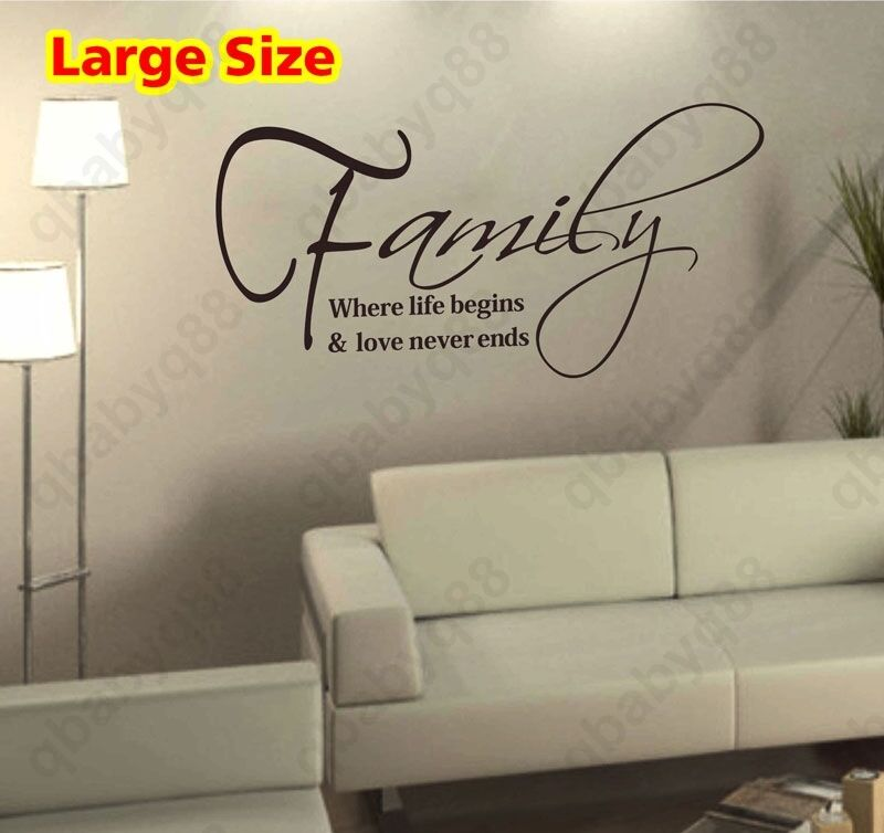 large family wall quotes decals removable stickers decor vinyl home art mural ebay. Black Bedroom Furniture Sets. Home Design Ideas