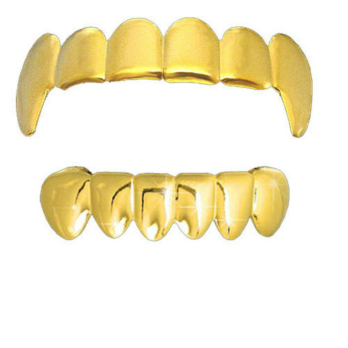 GOLD PLAIN VAMPIRE FANGS TOP & BOTTOM ROW TEETH GRILLZ HIP ...