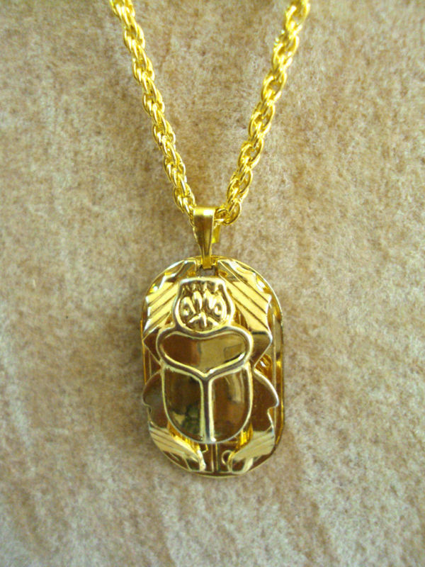 Scarab Beetle Hand Carved Necklace Pendanat Egyptian ...
