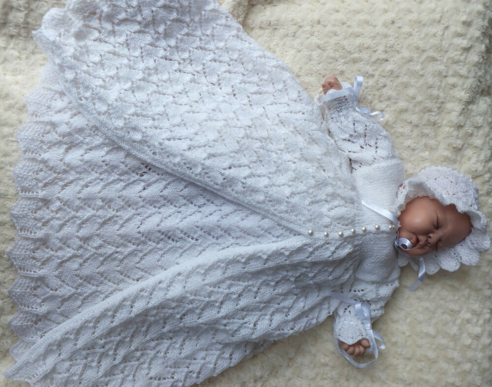 Knitting Pattern For Christening Shawl Free : KNITTING PATTERN (INSTRUCTIONS) TO MAKE *TOOTSIE* CHRISTENING GOWN AND DRES S...