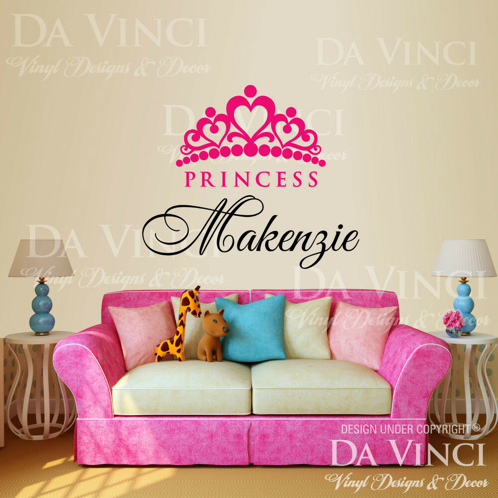 personalized custom girl name crown princess vinyl wall. Black Bedroom Furniture Sets. Home Design Ideas