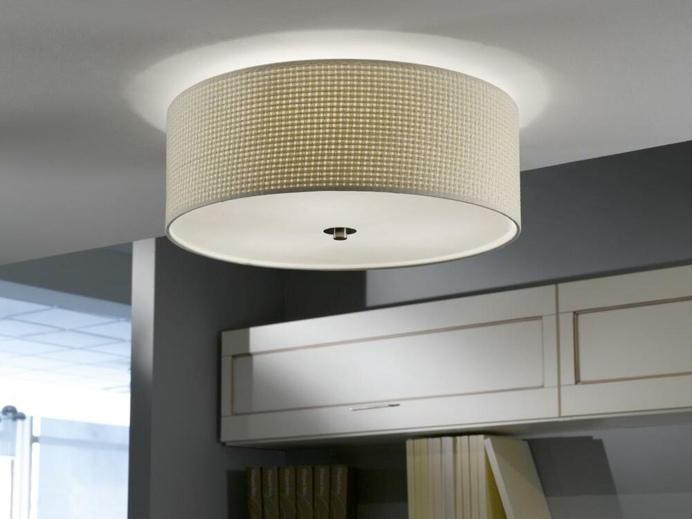 ceiling makeover ideas - Stylish Flush Ceiling Light Drum Shade Fitting With Cream