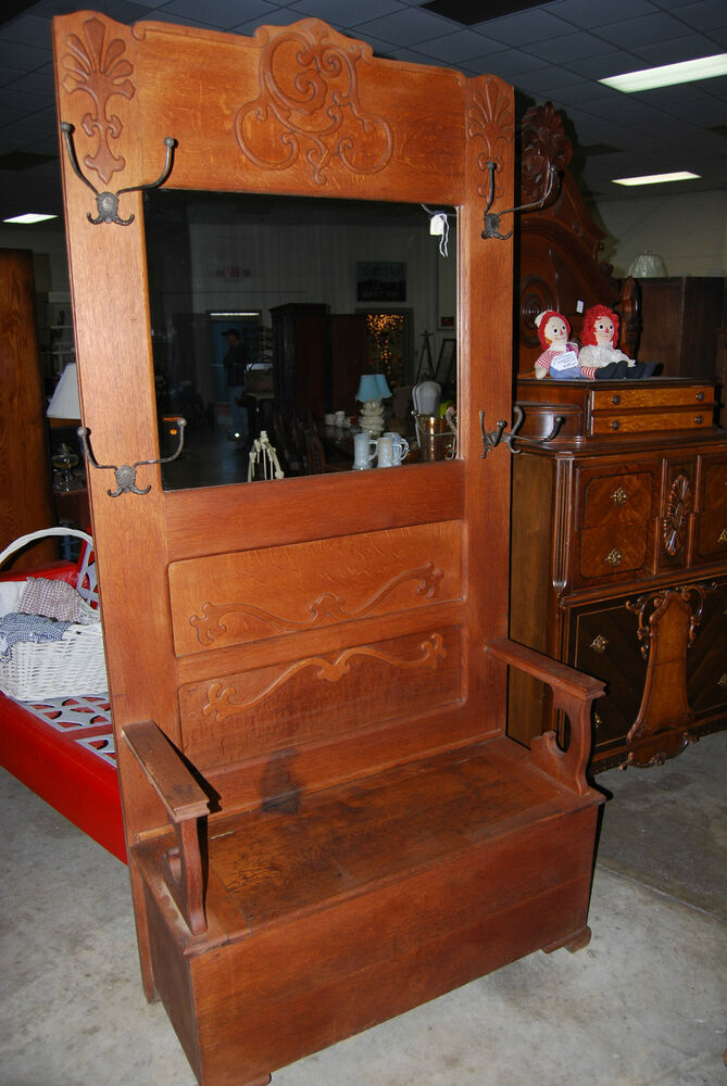 Vintage Antique Hall Tree Halltree Mirror Bench Seat