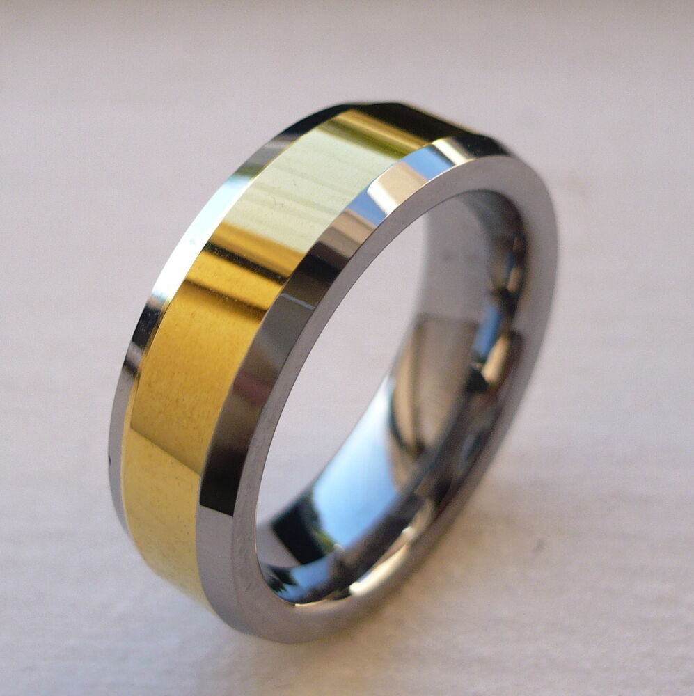 Gold Plated Wedding Rings: 6mm TUNGSTEN CARBIDE With Gold Plated MEN'S COMFORT FIT