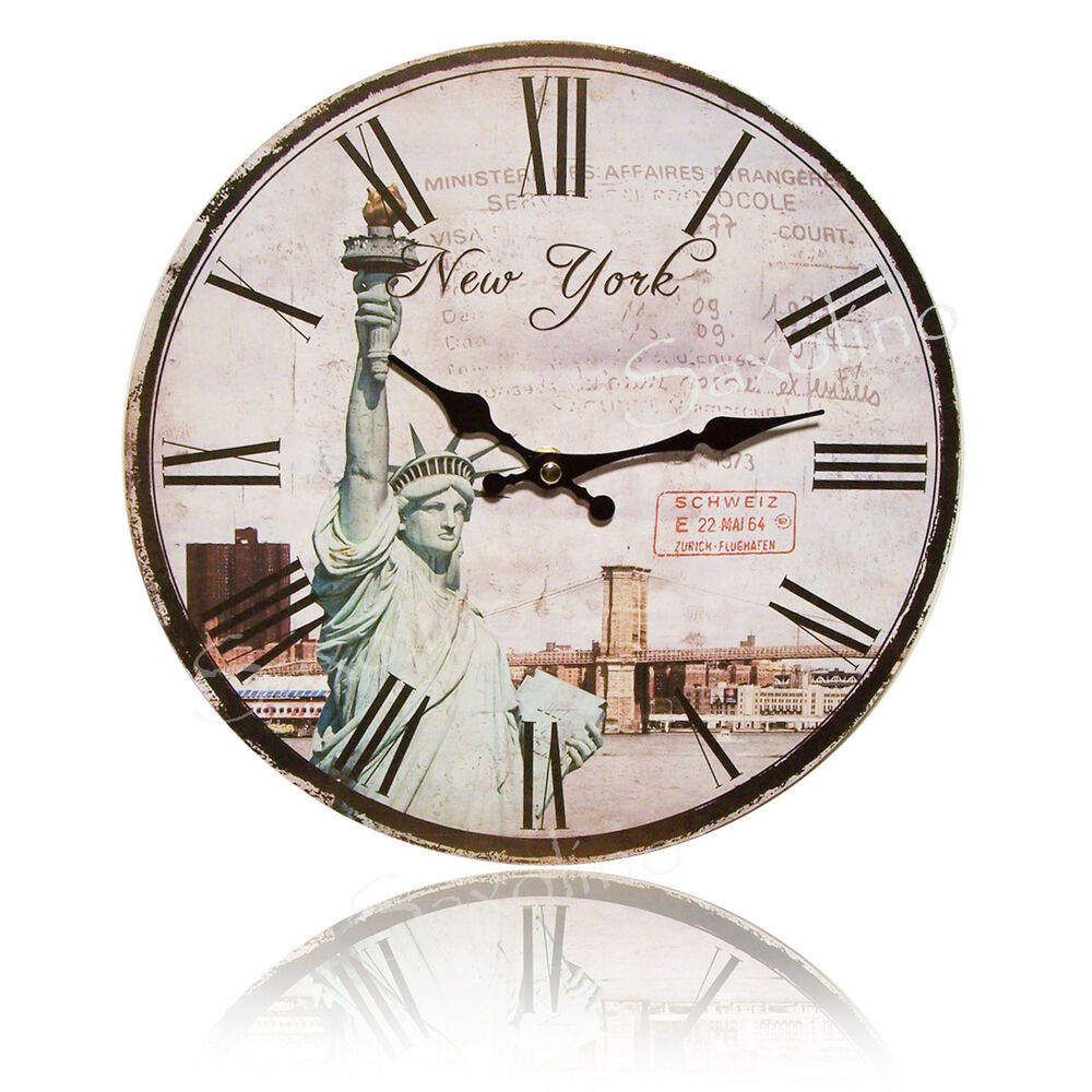 stylische wanduhr new york paris london pr z quarzwerk 29 cm neu ebay