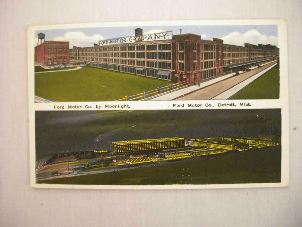 Vintage postcard ford motor company w moonlight view in for Ford motor company detroit mi