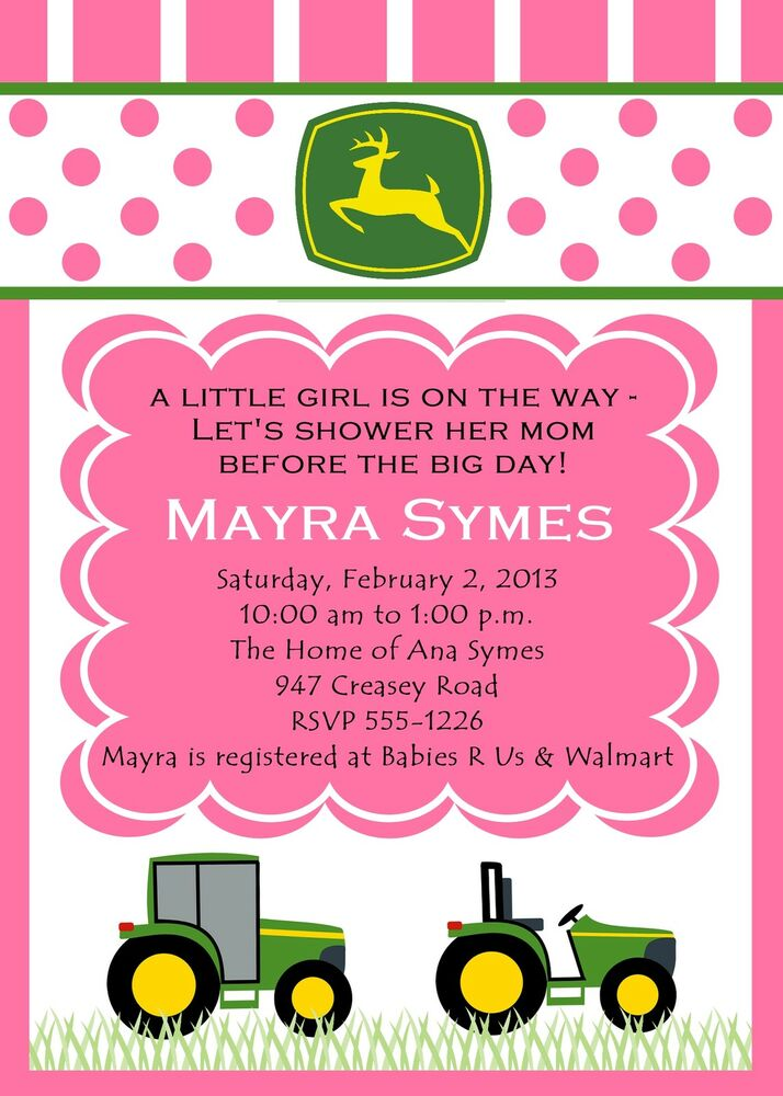 john deere farm tractor inspired baby girl shower personalized invitation ebay - John Deere Party Invitations
