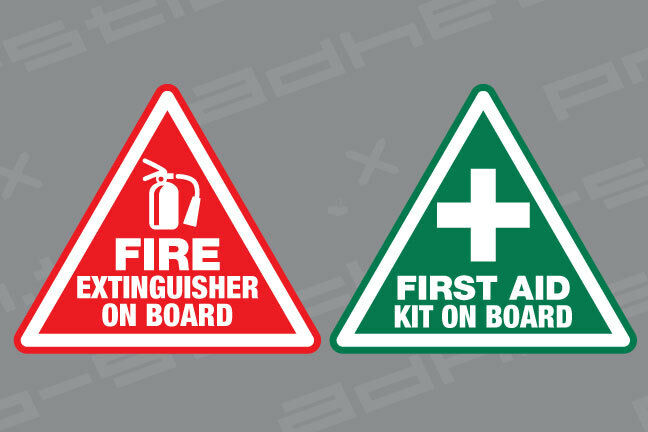 First Aid Fire Extinguisher On Board Stickers Vinyl