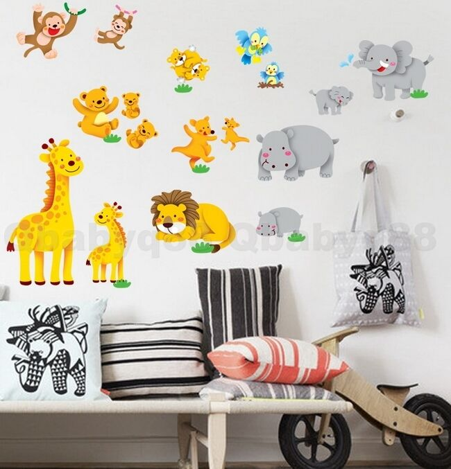 monkey bird wall stickers removable decals kids nursery decor ebay - Monkey Bedroom Decor