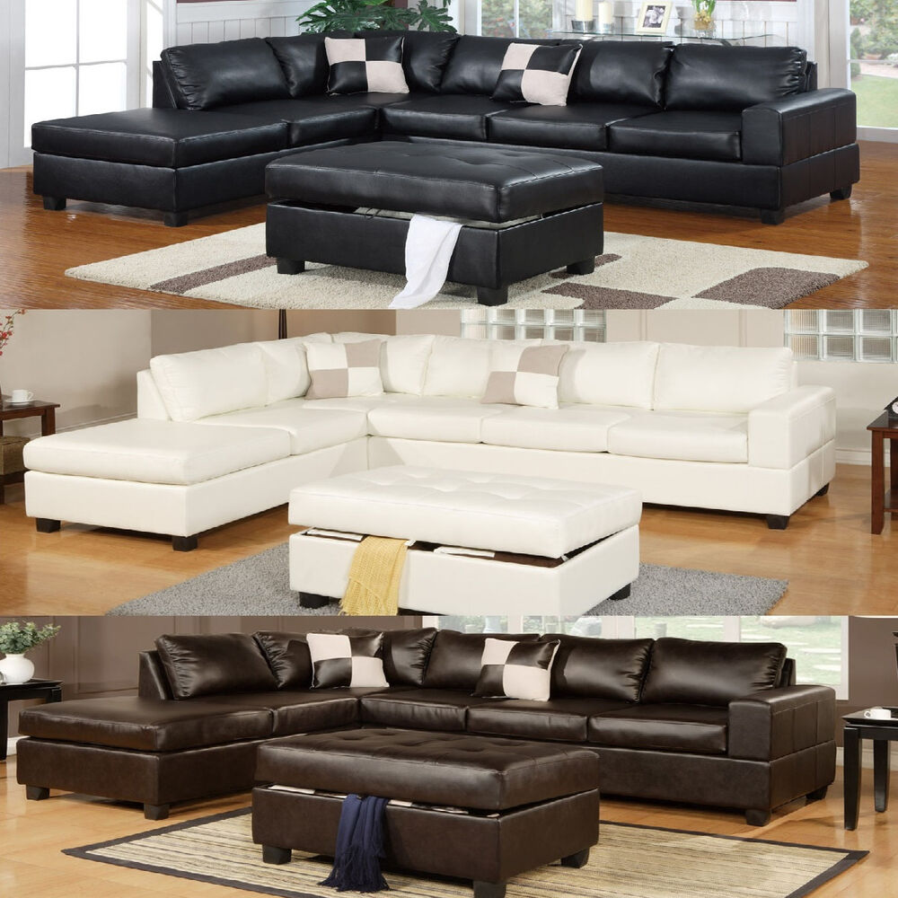 Modern Living Room Black Cream Sectional Couch 3 Pc