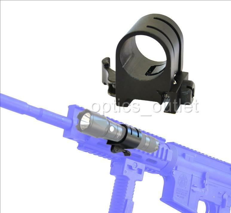 Quick Release 1 inch Flashlight Ring Rail Mount