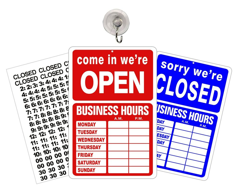 open closed business hours sign store window new ebay