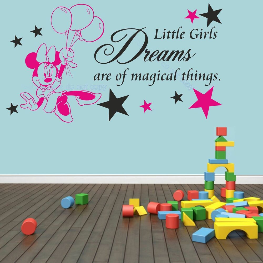 Minnie mouse little girls magical dreams bedroom wall art ...