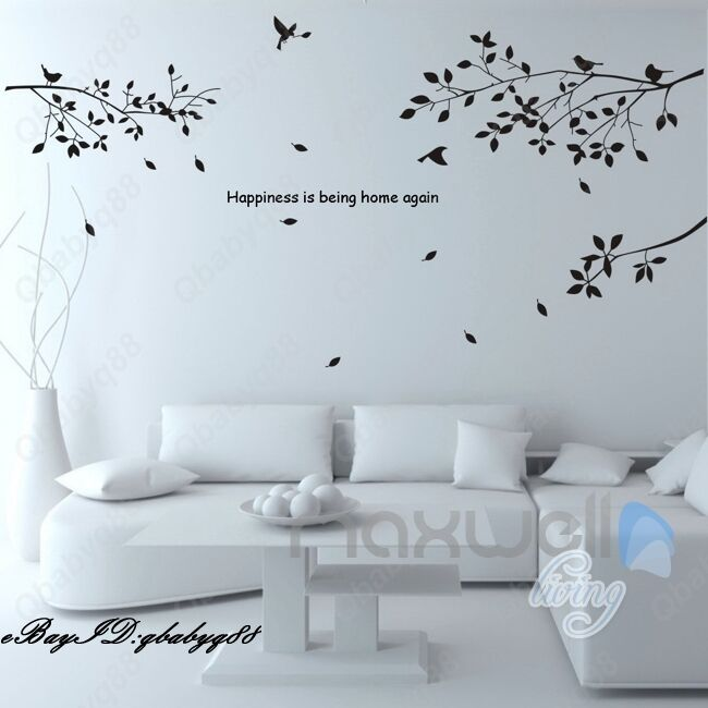 Large bird tree branch vinyl wall decals home art stickers for Big tree with bird wall decal deco art sticker mural