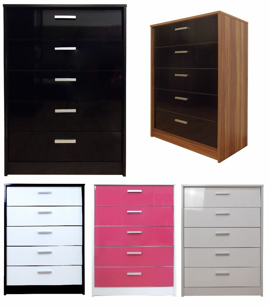 khabat 5 drawer tallboy chest high gloss bedroom furniture ebay