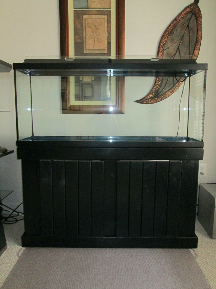 Used 55 gallon fish tank w black stand aquarium set for 55 gallon fish tank stand